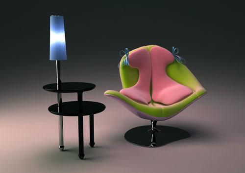Трехслойное кресло и лампо-столик