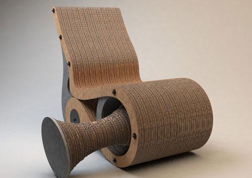 Картонные кресло и табуретка — два в одном