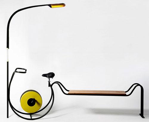Парковая скамейка с велотренажером