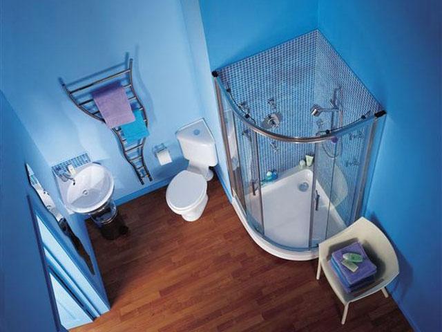Фото Голубой интерьер ванной комнаты