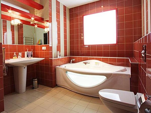 Фото Бордовая ванная комната