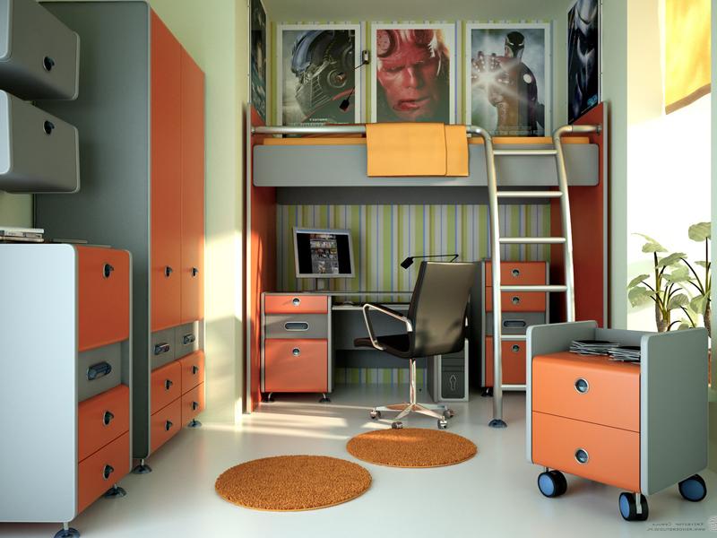 Функциональная комната для подростка с модульной мебелью