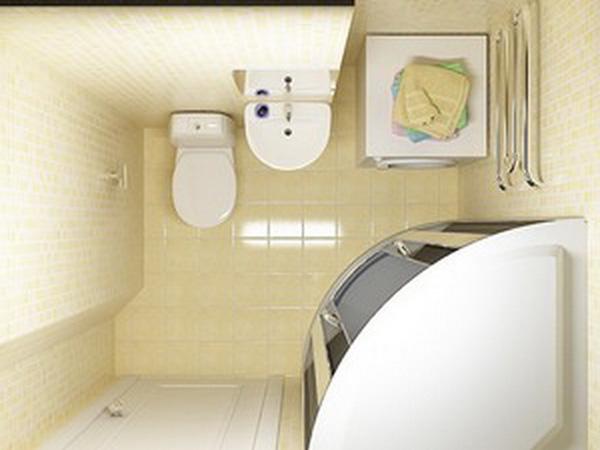 Маленькая ванная комната с душевой кабиной, вид сверху