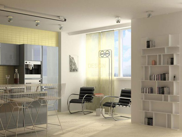 Дизайн интерьера квартиры-студии — пол и потолок