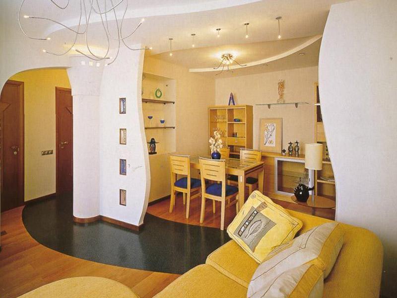 Дизайн большой квартиры в желтых тонах