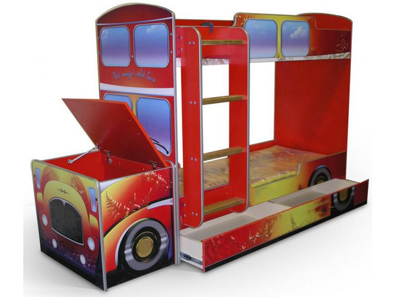 Двухъярусная кровать-грузовик с ящиками