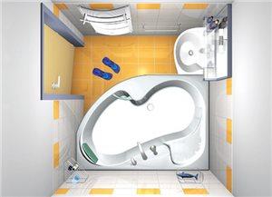 Визуализация ванной комнаты в разработке дизайнера - вид сверху