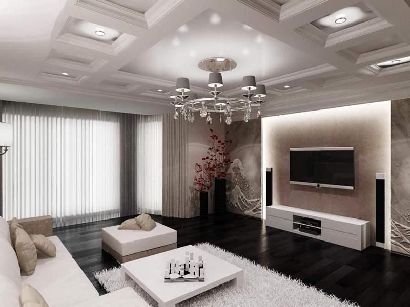 Интерьер гостиной в просторной квартире