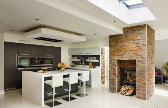 Дизайн кухни в стиле модерн, декор, планировка и освещение