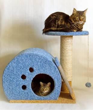 Делаем домик-когтеточку для кошки самостоятельно
