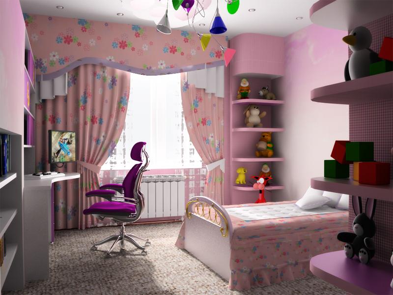 Интерьер детской. Дизайн детской комнаты для девочки (фото)