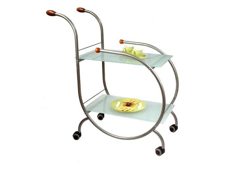 Сервировочный столик из стекла с гнутым металлическим каркасом