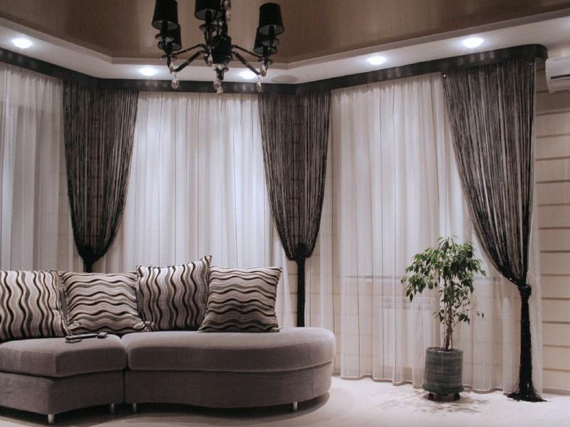 Шторы-нити. Нитяные шторы в интерьере (фото)