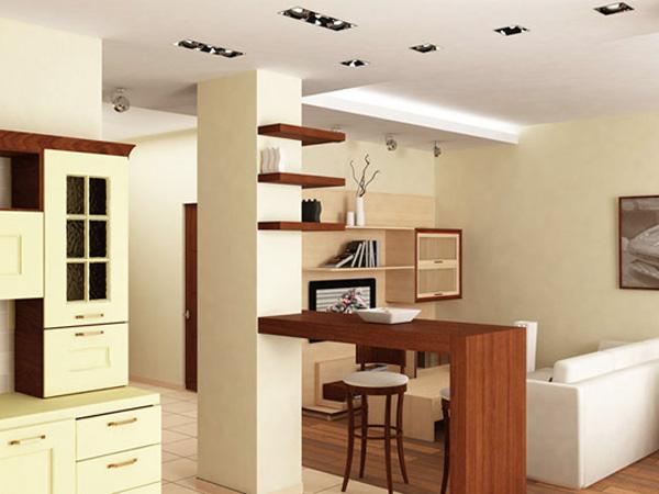 Дизайн и интерьер маленькой однокомнатной квартиры-студии. Фотографии интерьеров
