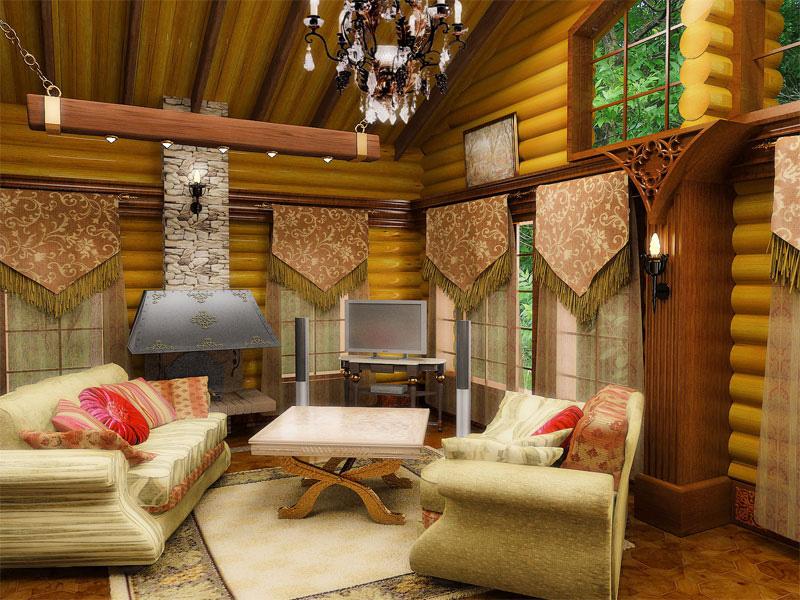 Интерьер деревянного загородного дома