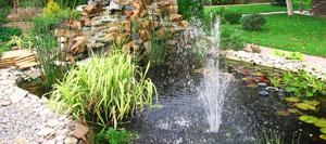 Садовый водоём с фонтаном