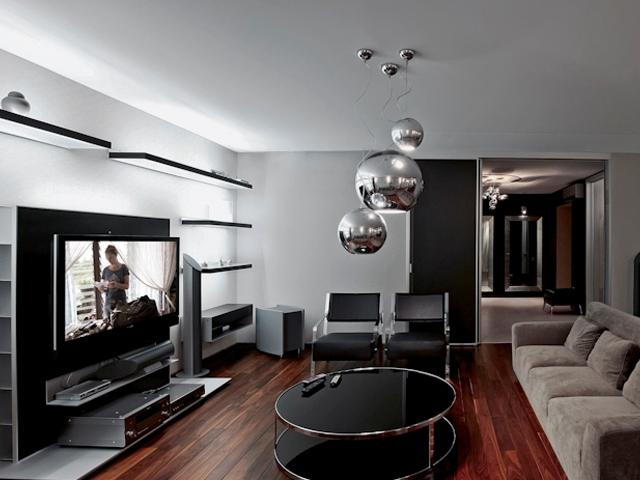 Симпатичная гостиная в черно-белом стиле