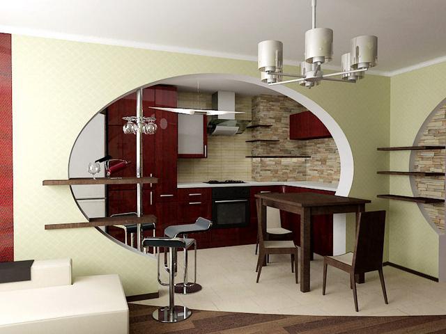 Красивая арка между кухней и залом
