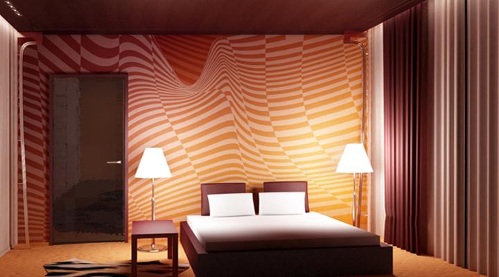 Красивые абстрактные обои в спальне