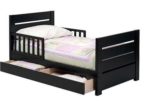 Черная деревянная односпальная кровать