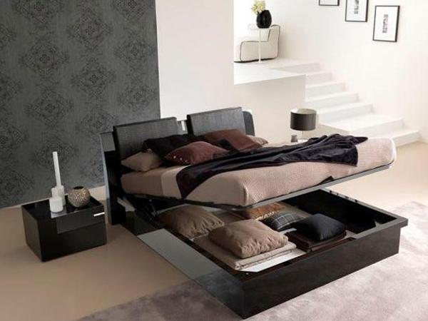 Стильная двуспальная кровать с подъемным механизмом