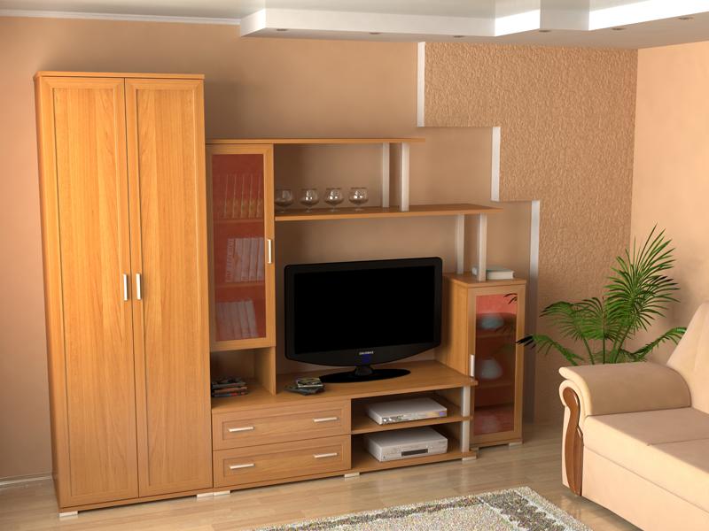 Мебельная горка с местом под телевизор
