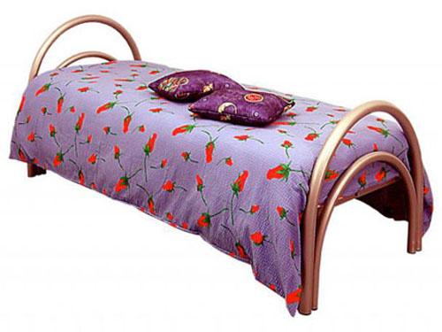 Металлическая односпальная кровать с круглыми спинками