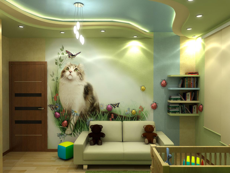 Красивая детская комната с котом на стене