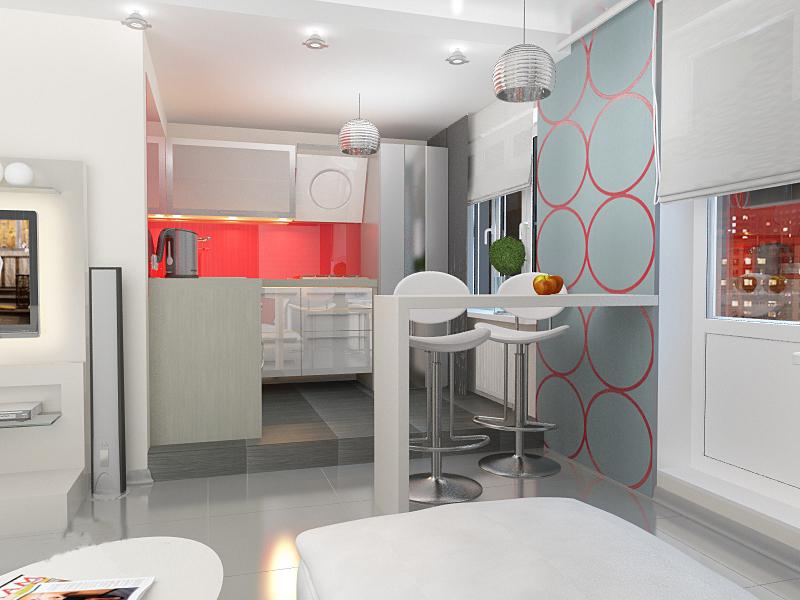 Кухонная зона в нише