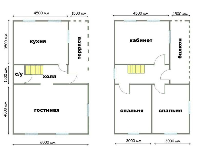 Планировка двухэтажного дома 6×9