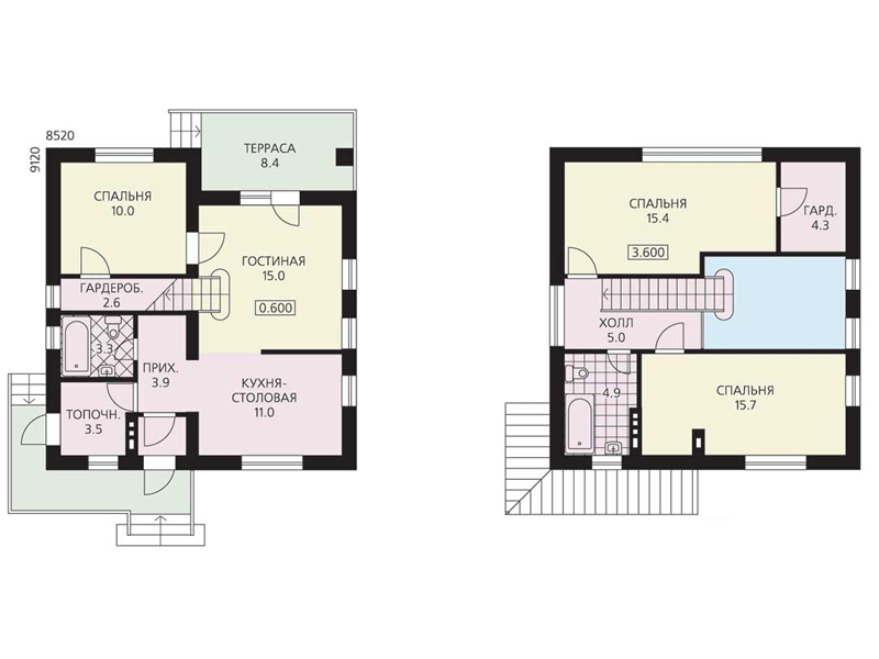 Планировка маленького двухэтажного дома с террасой