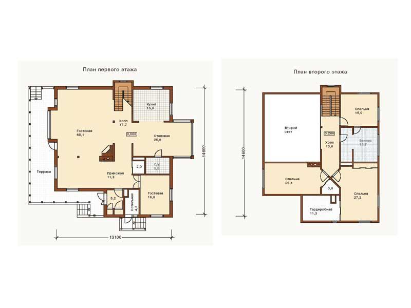 Планировка большого двухэтажного дома