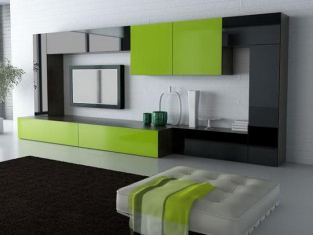 Черно-салатовая модульная мебель