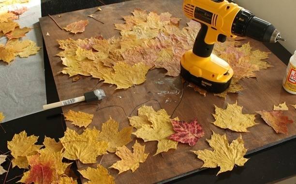 Мастер-класс по созданию картины из кленовых листьев. Шаг 3