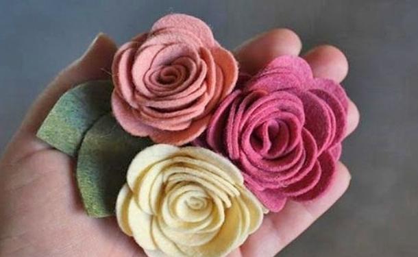 Готовый вид розы из фетра