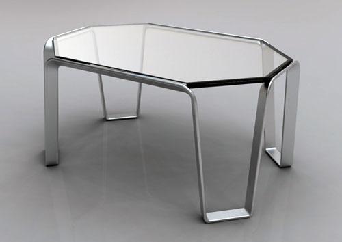 Журнальный столик из алюминия и стекла