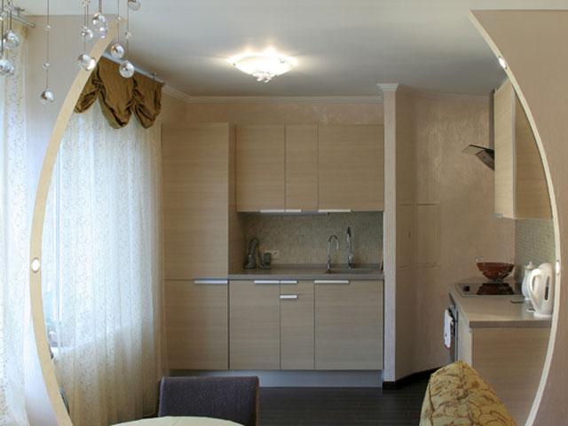 Горизонтальная арка между кухней и комнатой