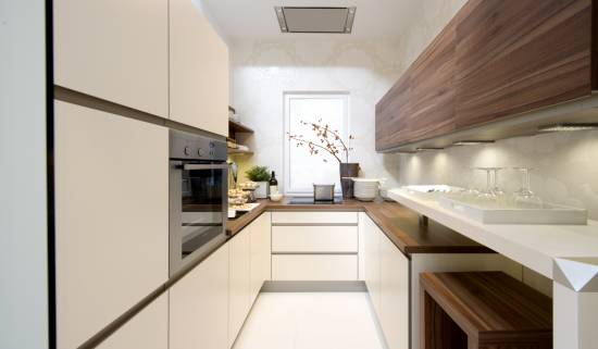 Дизайн длинной кухни: правила меблировки, освещения и планировки