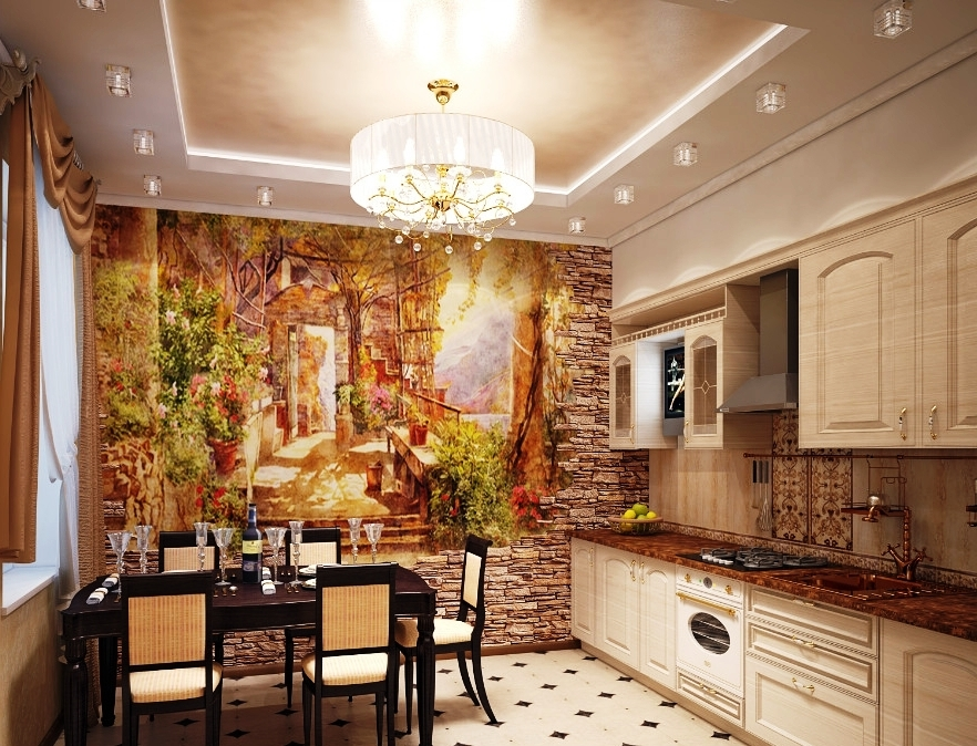Дизайн кухни отделка стен фото
