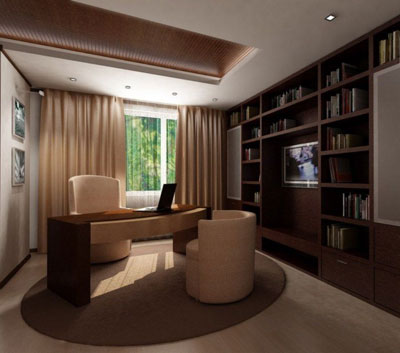 Интерьер домашнего кабинета: мебель, цвет и аксессуары