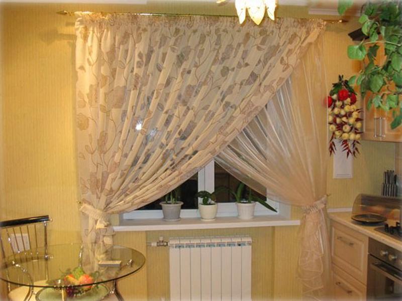 Дизайн тюли и штор для кухни фото