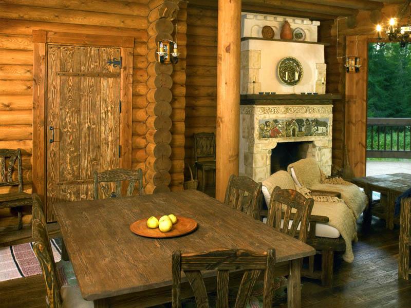 интерьер деревенского дома фото внутри