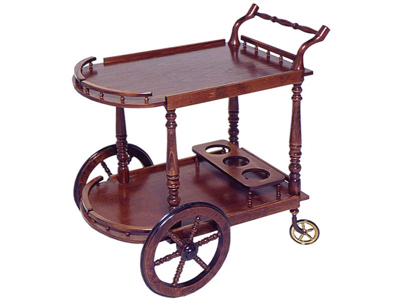 Сервировочный столик из красного дерева с большими колесами