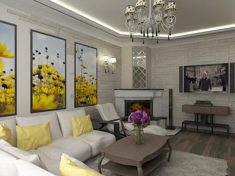 Фото дизайн гостиная с камином