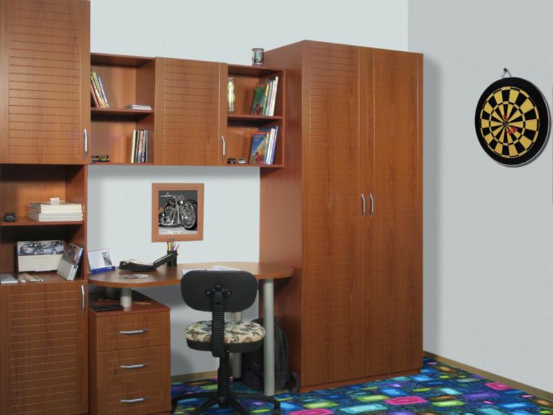 Детский уголок школьника: мебель с кроватью. 13 фото вариант.