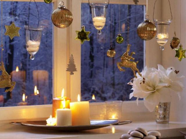 Украшение окна в Новый Год