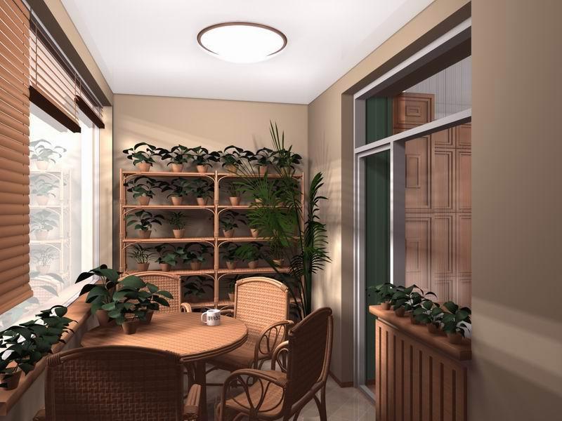 Балкон дизайн через комнату.