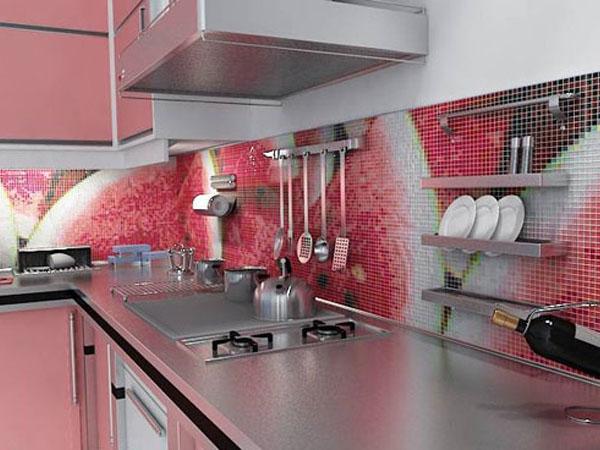 Фартук в кухне из мозаики