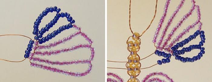 Мастер-класс по плетению бабочки из бисера и проволоки. Шаг 15
