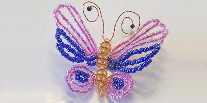 Бабочка из бисера и проволоки